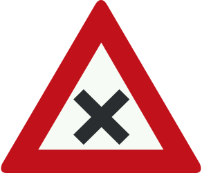 Traffic sign of Netherlands: Warning for an uncontrolled crossroad