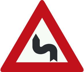 Traffic sign of Netherlands: Warning for a double curve, first left then right
