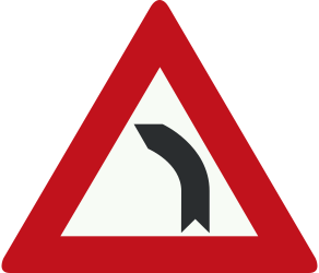 Traffic sign of Netherlands: Warning for a curve to the left