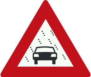 Traffic sign of Netherlands: Warning of poor visibility due to rain, fog or snow