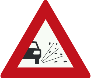 Traffic sign of Netherlands: Warning for loose chippings on the road surface