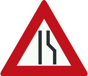 Traffic sign of Netherlands: Warning for a road narrowing on the right