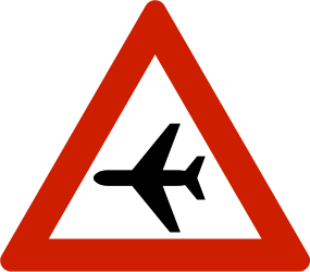 Traffic sign of Norway: Warning for low-flying aircrafts