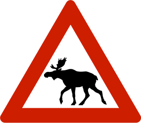 Traffic sign of Norway: Warning for moose on the road