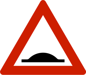 Traffic sign of Norway: Warning for a speed bump