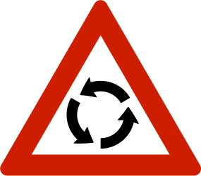 Traffic sign of Norway: Warning for a roundabout