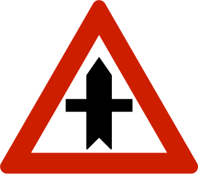 Traffic sign of Norway: Warning for a crossroad side roads on the left and right