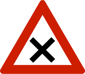 Traffic sign of Norway: Warning for an uncontrolled crossroad