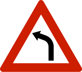 Traffic sign of Norway: Warning for a curve to the left