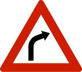 Traffic sign of Norway: Warning for a curve to the right