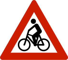 Traffic sign of Norway: Warning for cyclists