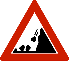 Traffic sign of Norway: Warning for falling rocks