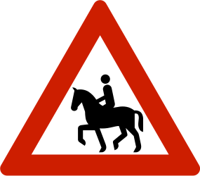 Traffic sign of Norway: Warning for equestrians