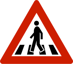 Traffic sign of Norway: Warning for a crossing for pedestrians