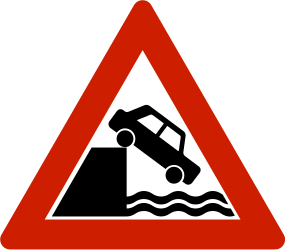 Traffic sign of Norway: Warning for a quayside or riverbank