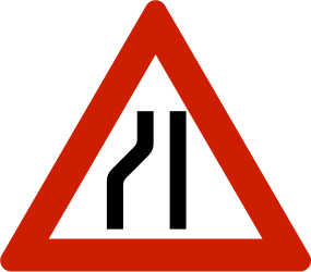 Traffic sign of Norway: Warning for a road narrowing on the left
