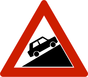 Traffic sign of Norway: Warning for a steep ascent