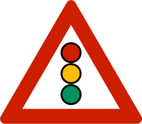 Traffic sign of Norway: Warning for a traffic light