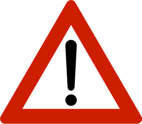 Traffic sign of Norway: Warning for a danger with no specific traffic sign