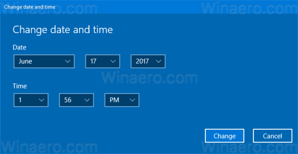 Windows 10 Change Date Modern Dialog