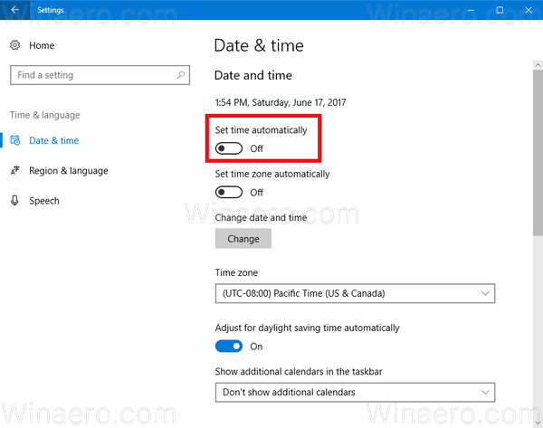 Windows 10 Disable Set Time Automatically
