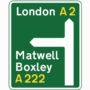 Green primary route direction sign