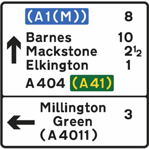 Direction sign with distance to destinations