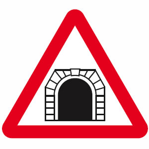 Tunnel ahead sign